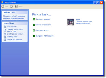 A picture of the User Accounts Control Panel applet