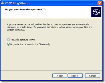A picture of the CD writing wizard