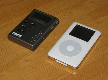 A picture of my Diamond Rio 500 and Apple iPod side by side