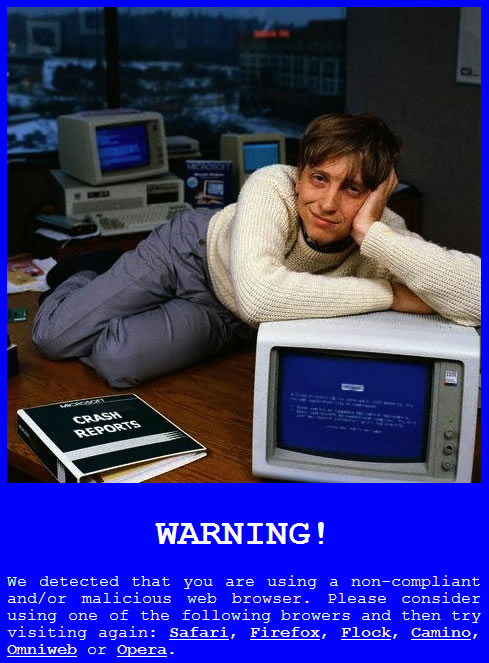 A picture of a young-looking Bill Gates learning on an old PC with a 'Crash Reports' binder on the desk