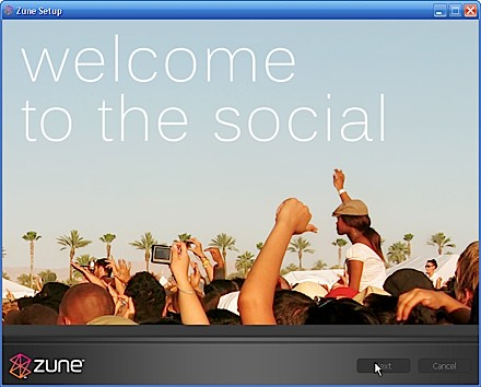 A picture of one of the Zune's installation screens, that says 'Welcome to the social'