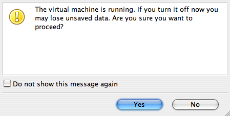A picture of a Parallels warning message saying that I may lose data if I switch off the virtual machine