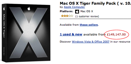 A picture of the Mac OS X Family Pack page from amazon.co.uk, showing the price as £149,147.00