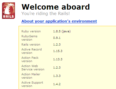 A picture of the Ruby on Rails welcome screen that shows the Ruby version as 1.8.5 (java)