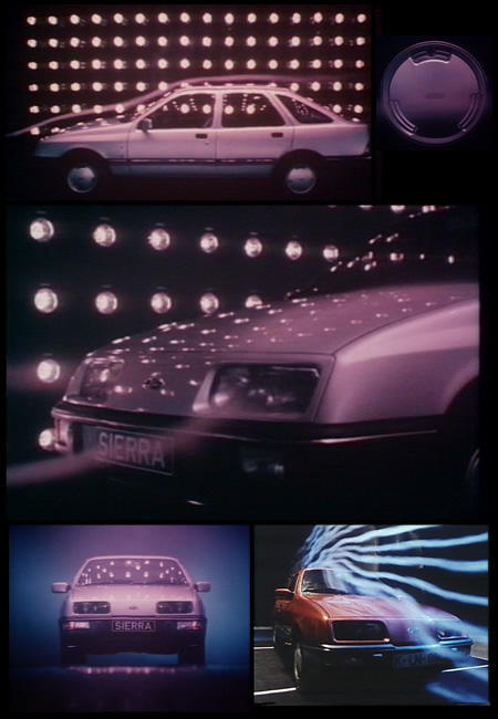 A montage of pictures showing the Ford Sierra in the wind tunnel at Cologne