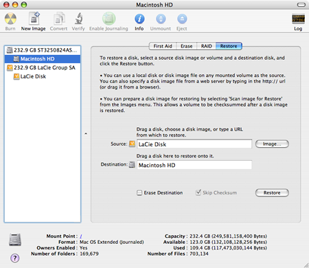 A picture of the Disk Utility application