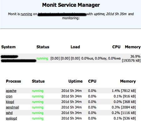 A screenshot of the monit system management page for AssetsGraphed, showing 201 days uptime