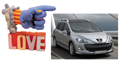 A montage of 'Glove' from 'Yellow Submarine' and a Peugeot 308