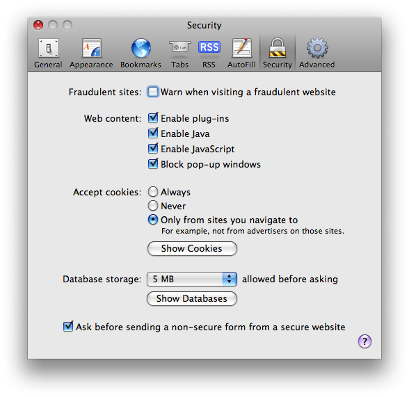 A picture of the Security tab of Safari's preference pane