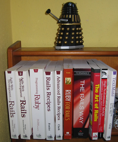 A selection of my computer books in my bookcase