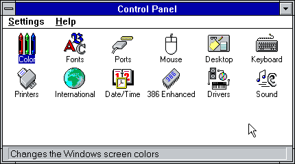 The Windows 3.11 Control Panel: not a lot of stuff