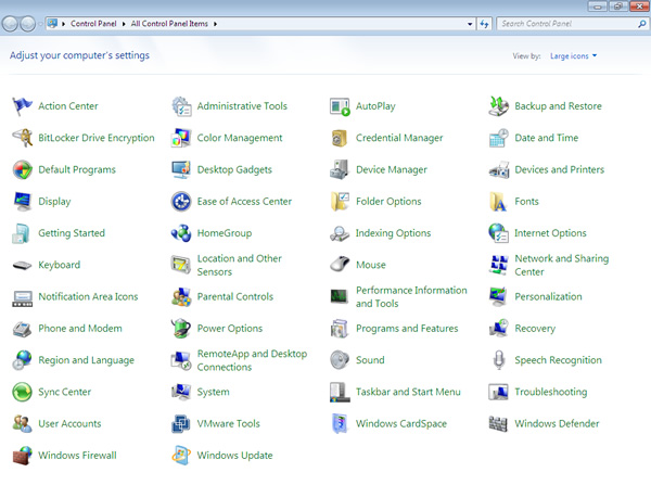 The Windows 7 Control Panel: a lot of stuff