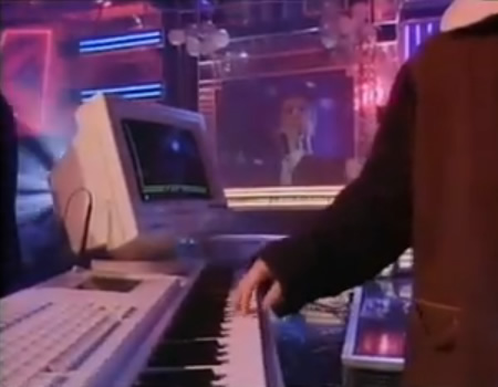 A picture of Chris Lowe from the Pet Shop Boys playing a Fairlight Series III on Top of the Pops