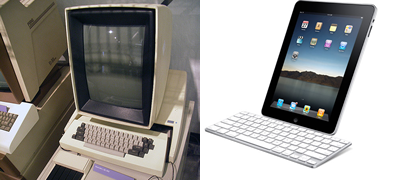 A comparison of the Xerox Alto and the Apple iPad with keyboard dock accessory