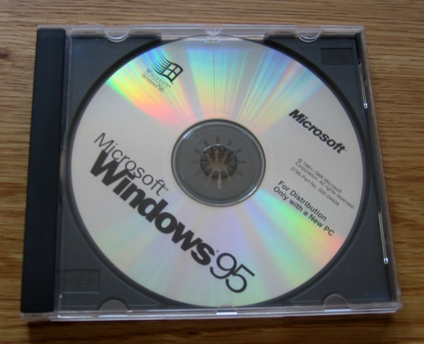 A picture of the Windows 95 CD-ROM