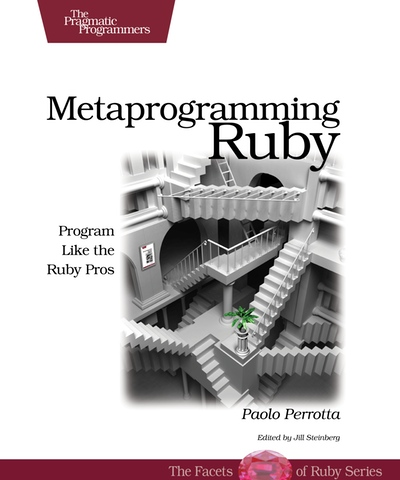 A picture of the cover of the Metaprogramming Ruby book