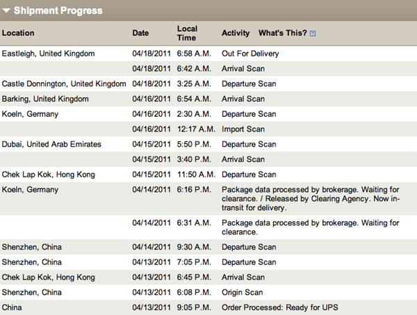 A screenshot of the UPS shipping progress information for my iPad 2